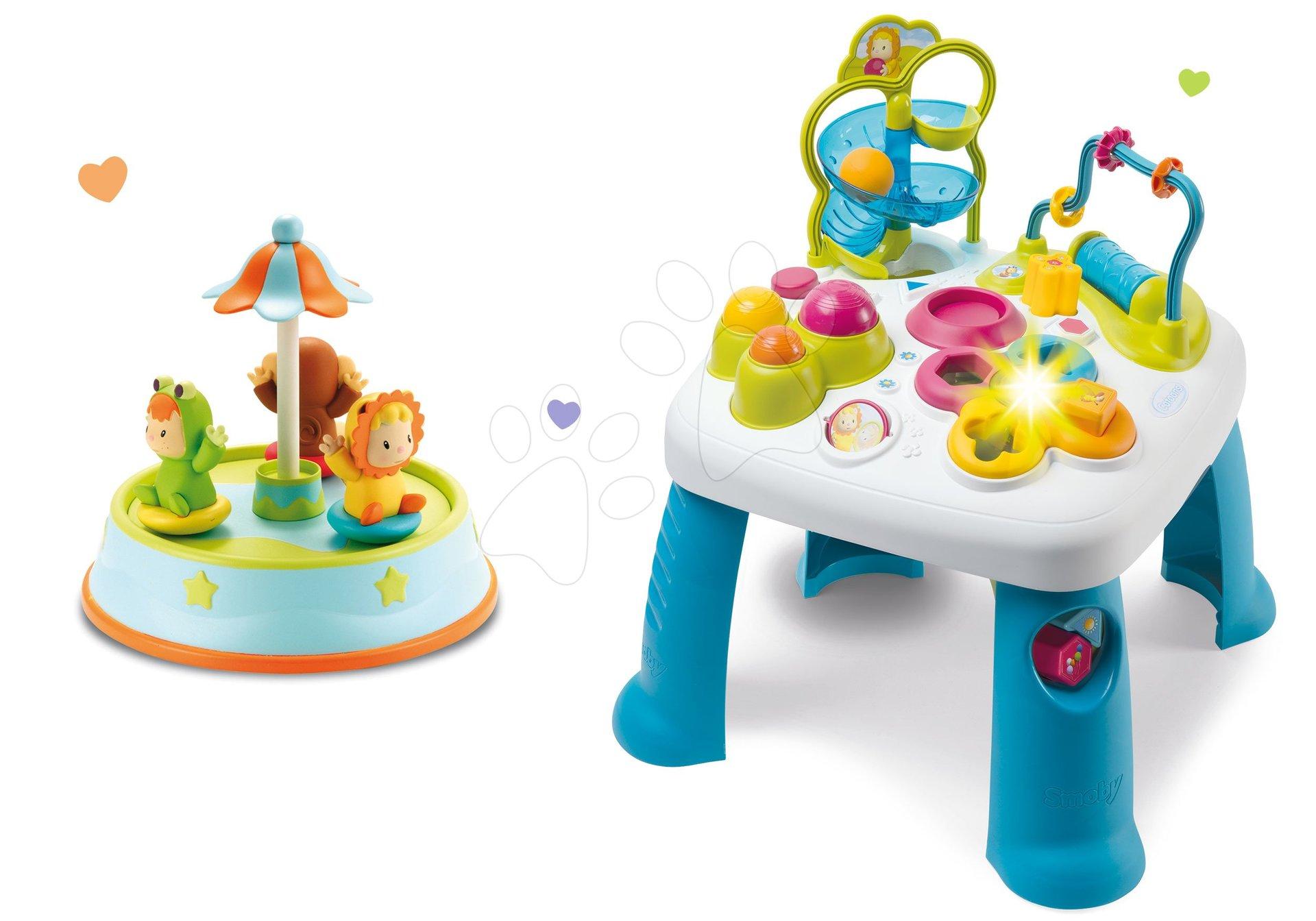 Set didaktický stolík Cotoons Smoby s funkciami ružový a kolotoč s tancujúcimi figúrkami a melódiami