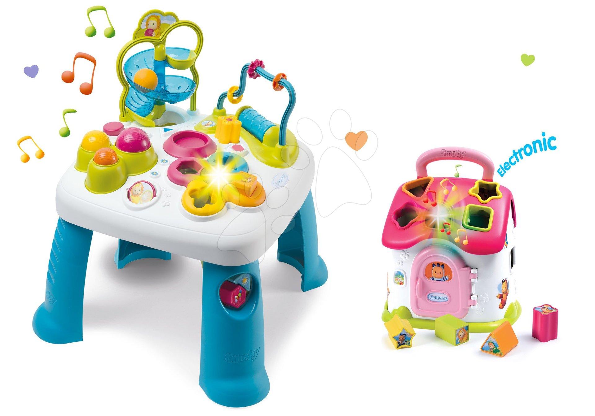 Smoby set didaktický stolík Cotoons a domček vkladací so svetlom a zvukmi 211067-10 ružový