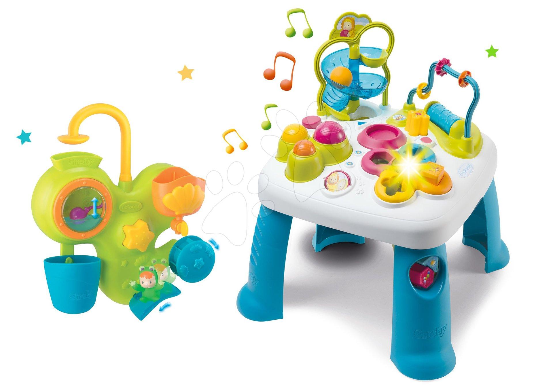 Set didaktický stôl Activity Table Cotoons Smoby so zvukom svetlom a aquapark do vane so šmykľavkou