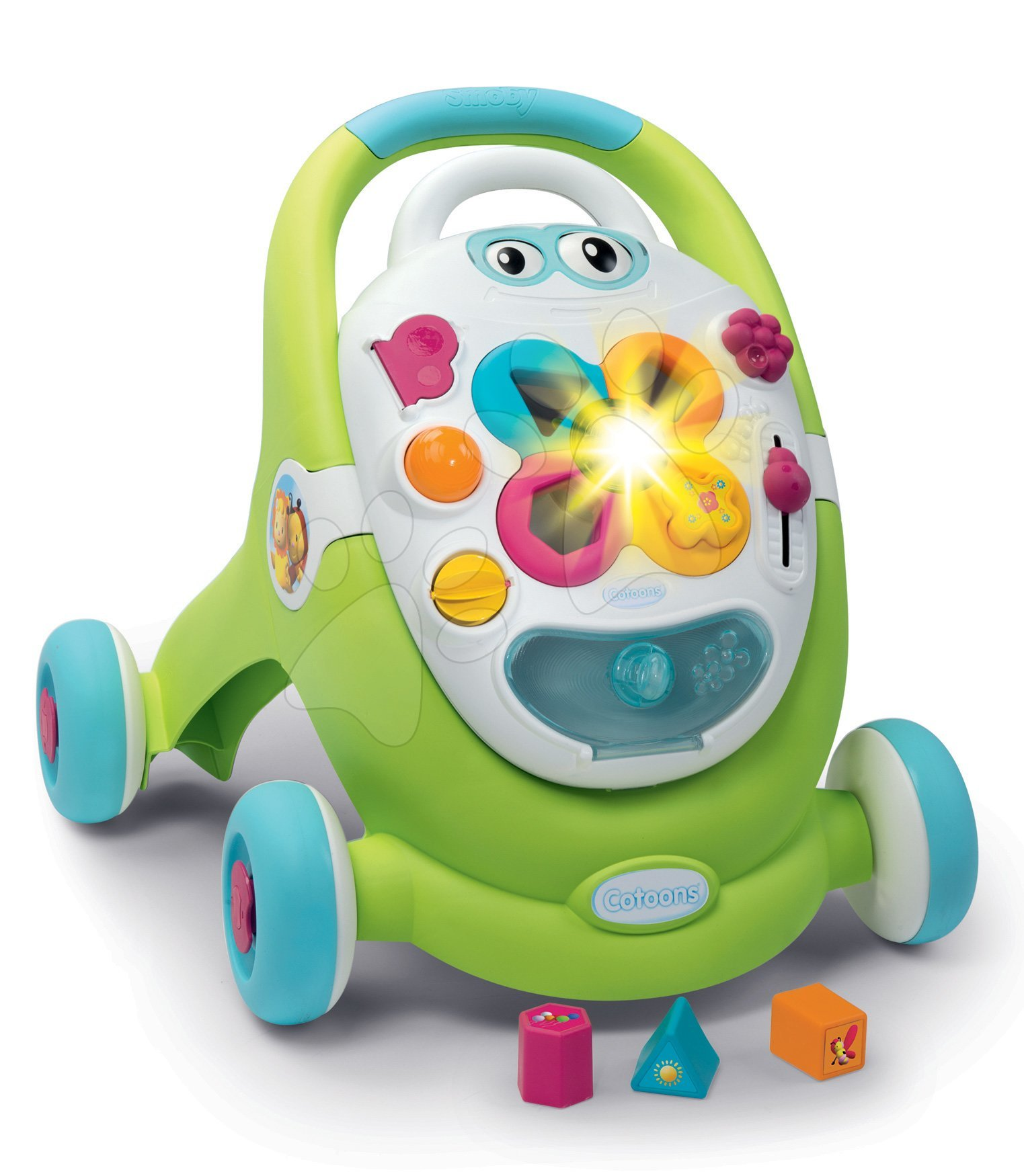 Dětská chodítka - Chodítko s didaktickým kufříkem Trott Cotoons 2v1 Smoby se zvukem a světlem a 8 funkcemi od 12 měsíců