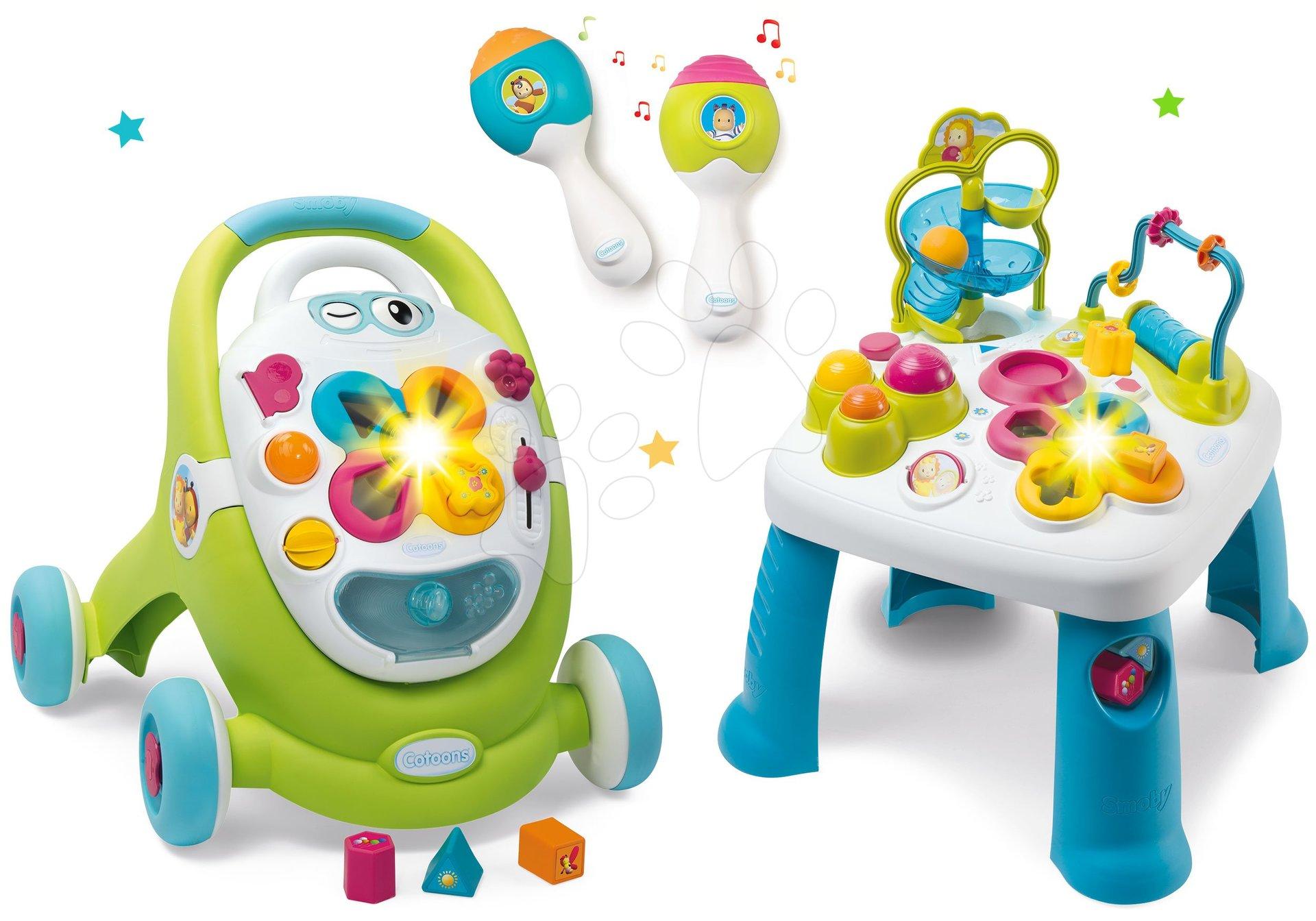 Dětská chodítka - Set chodítko s didaktickým kufříkem Trott Cotoons 2v1 Smoby se zvukem a světlem a interaktivní stůl Activity s funkcemi a rumba koulemi