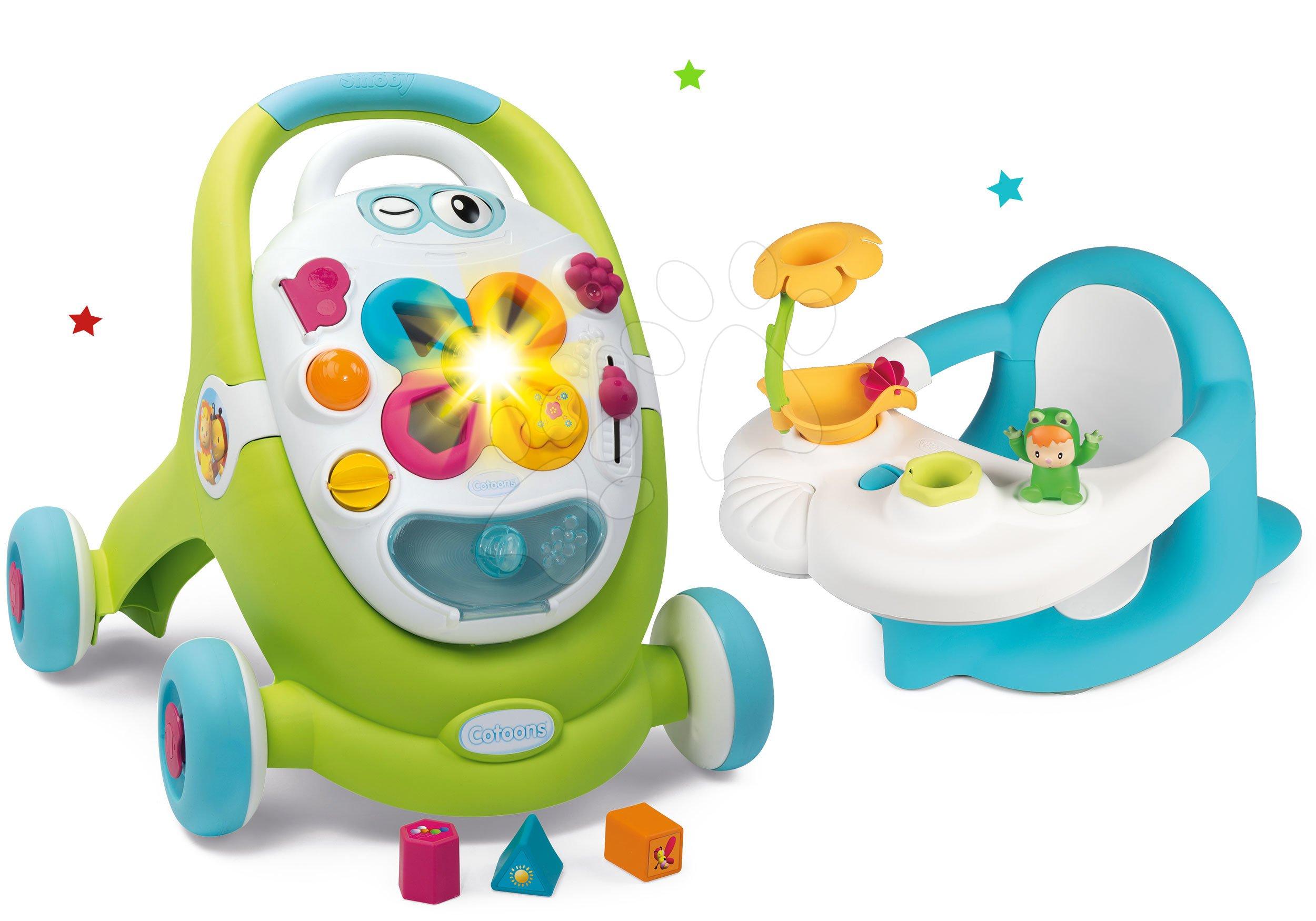 Hračky pro miminka - Set chodítko s didaktickým kufříkem Trott Cotoons 2v1 Smoby se zvukem a světlem a sedátko do vany Žába s přísavkami