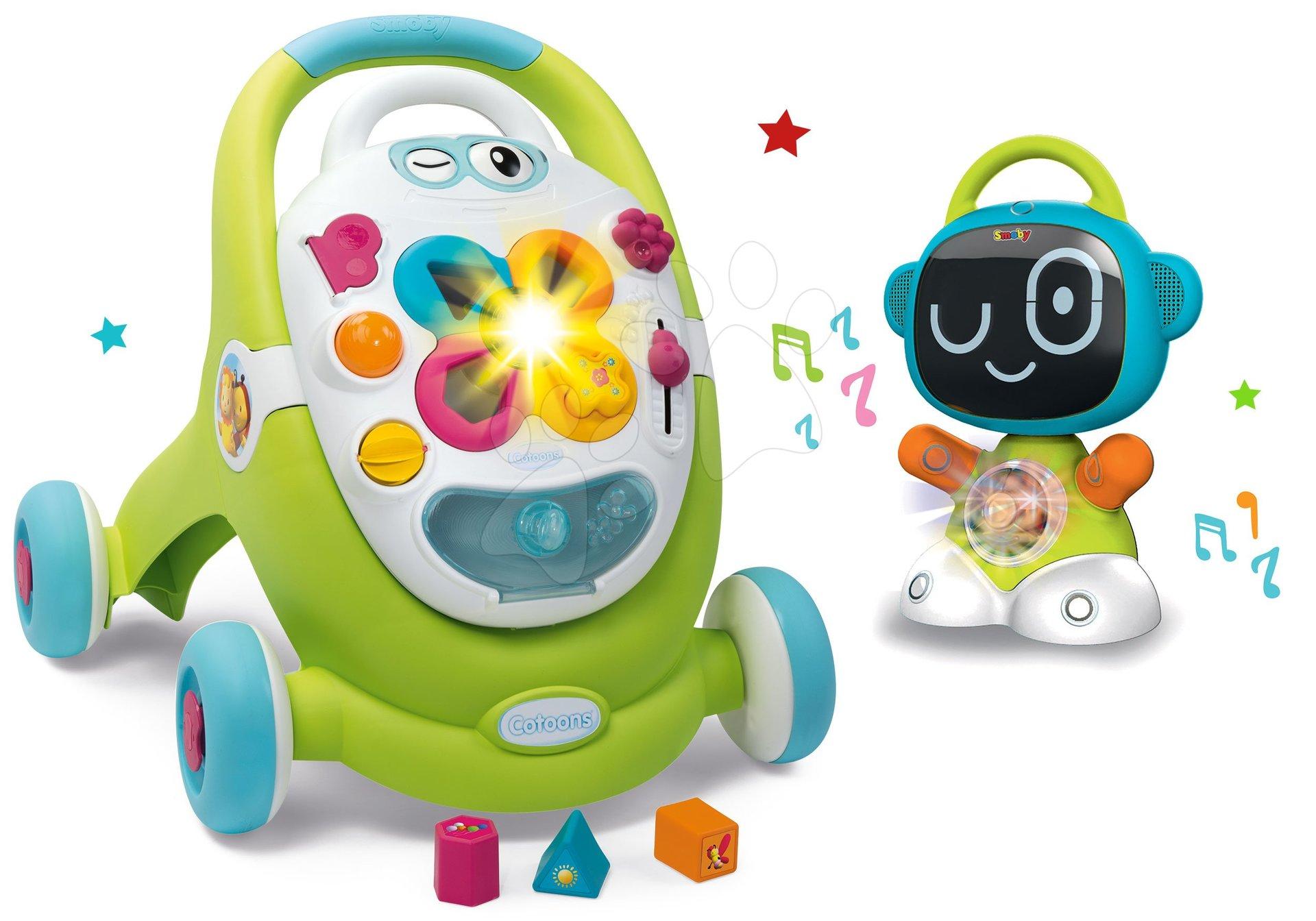 Dětská chodítka - Set chodítko s didaktickým kufříkem Trott Cotoons 2v1 Smoby se zvukem a světlem a interaktivní Robot TIC Smart s 3 naučnými hrami
