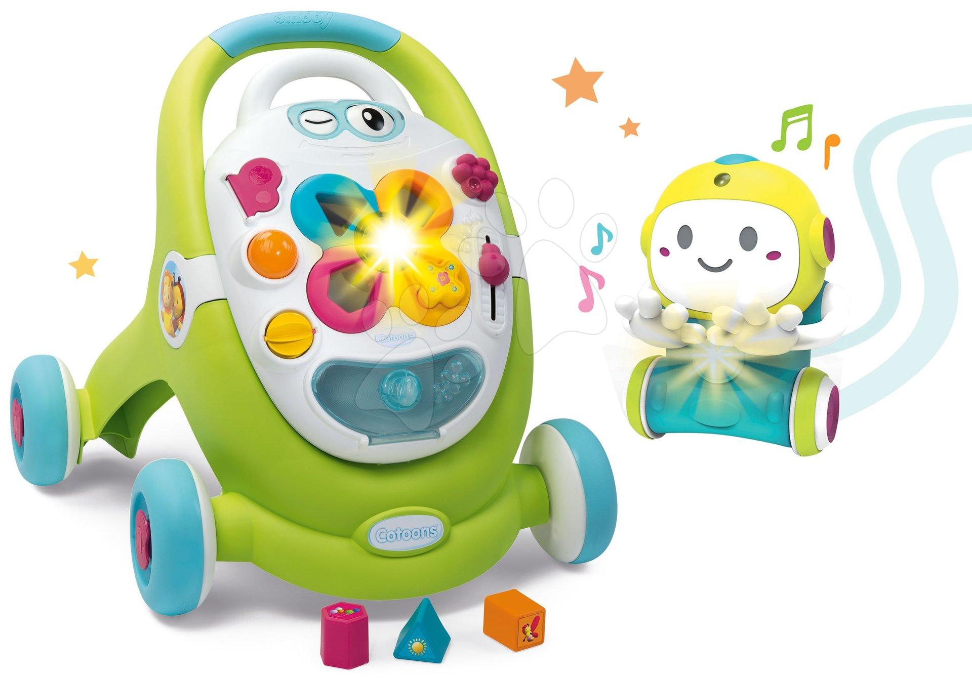 Dětská chodítka - Set chodítko s didaktickým kufříkem Trott Cotoons 2v1 Smoby se zvukem a světlem a interaktivní Robot 1,2,3 Smart s pohybovým senzorem a 2 hrami
