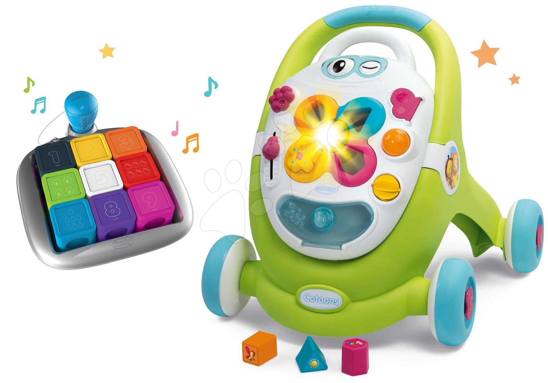 Dětská chodítka - Set chodítko s didaktickým kufříkem Trott Cotoons 2v1 Smoby se zvukem a světlem a interaktivní hra Clever Cubes Smart s 3 hrami barvy a čísla