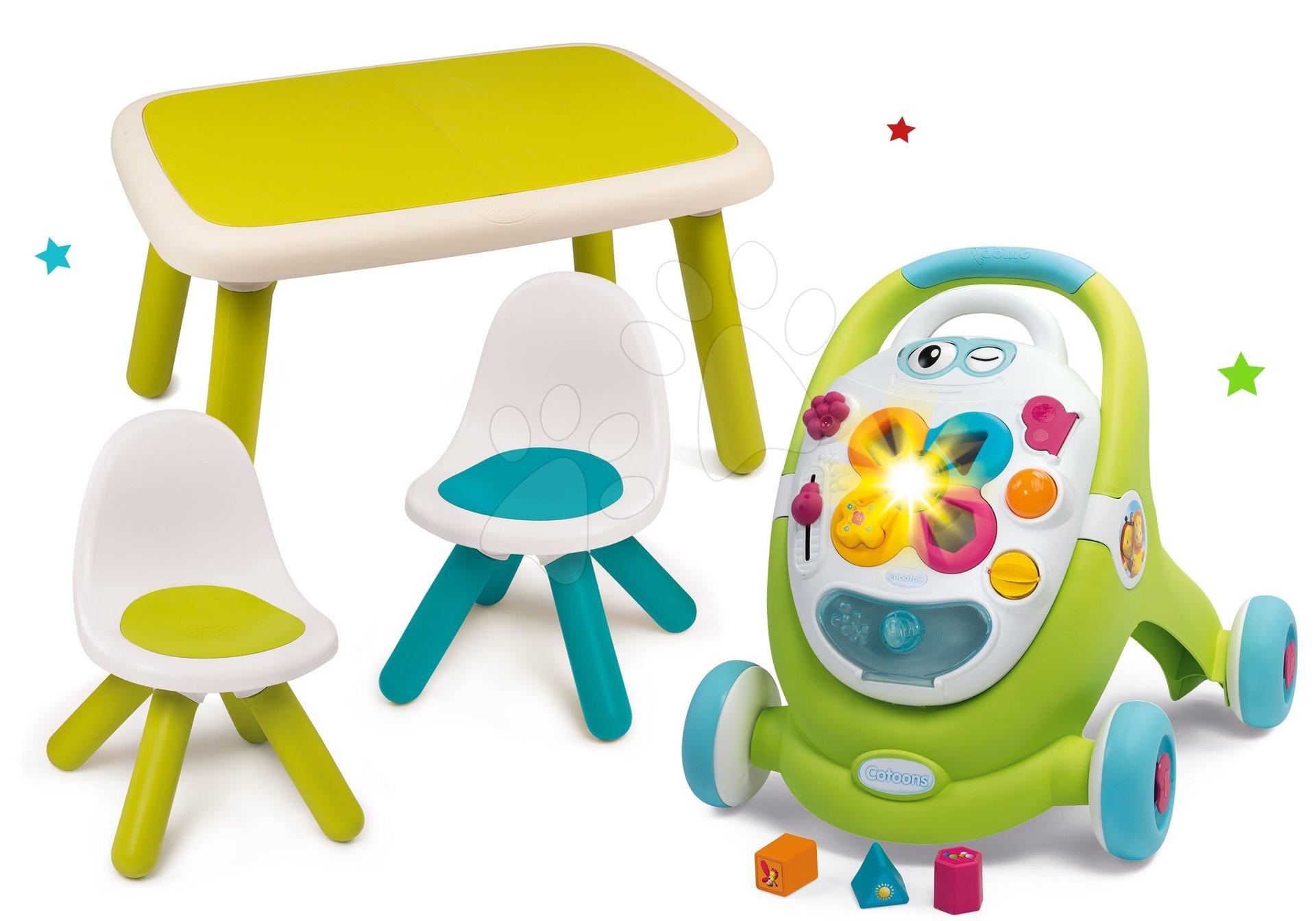 Set chodítko s didaktickým kufríkom Trott Cotoons 2v1 Smoby so zvukom a svetlom a stôl s dvoma stoličkami Kid