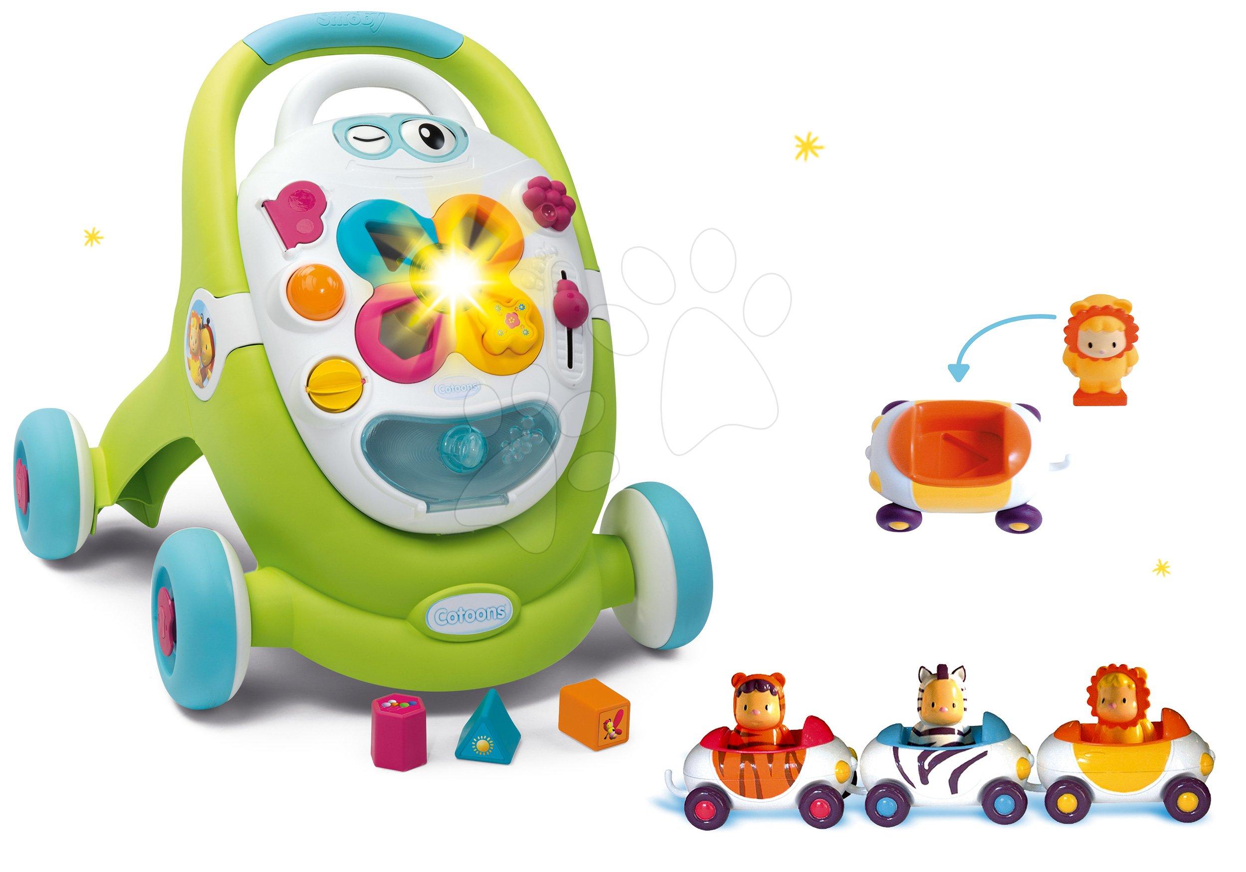 Dětská chodítka - Set chodítko Trott Cotoons 2v1 Smoby zelené s kostkami, světlem a melodií a autíčka Imagin Car Cotoons