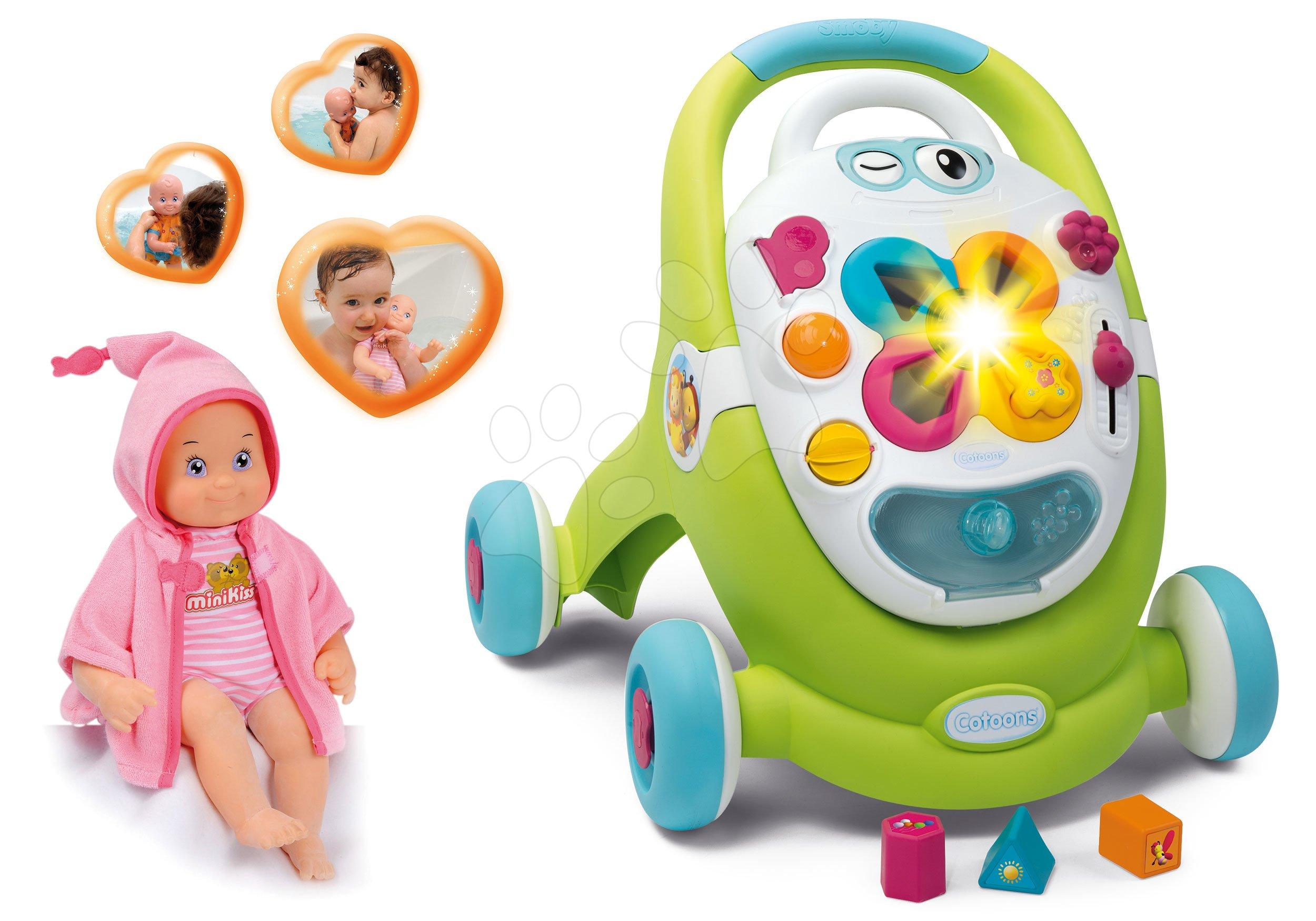 Smoby set chodítko Cotoons ružové s kockami, funkciami a bábika so zvukmi na kúpanie 211376-7