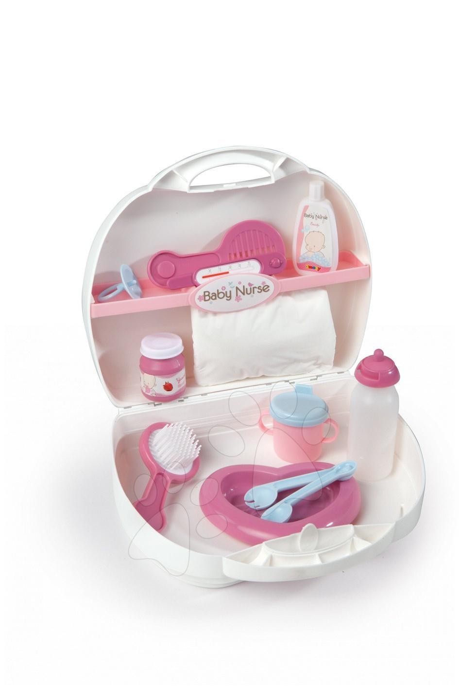 Doplnky pre bábiky - Biely prebaľovací set Baby Nurse Smoby pre bábiku v kufríku pre bábiku v kufríku