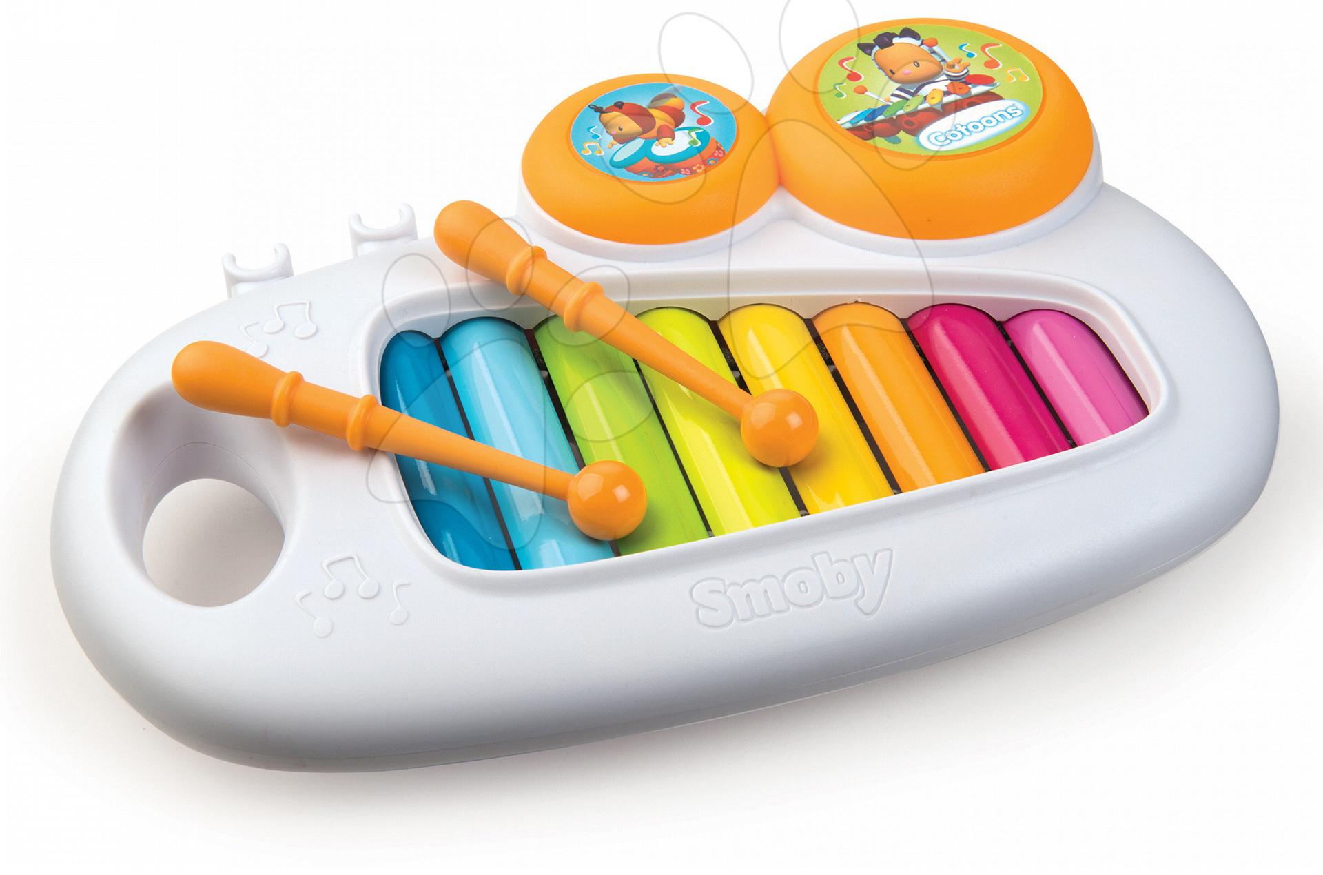 Xylofón pre najmenších Cotoons Smoby s bubnami od 12 mes