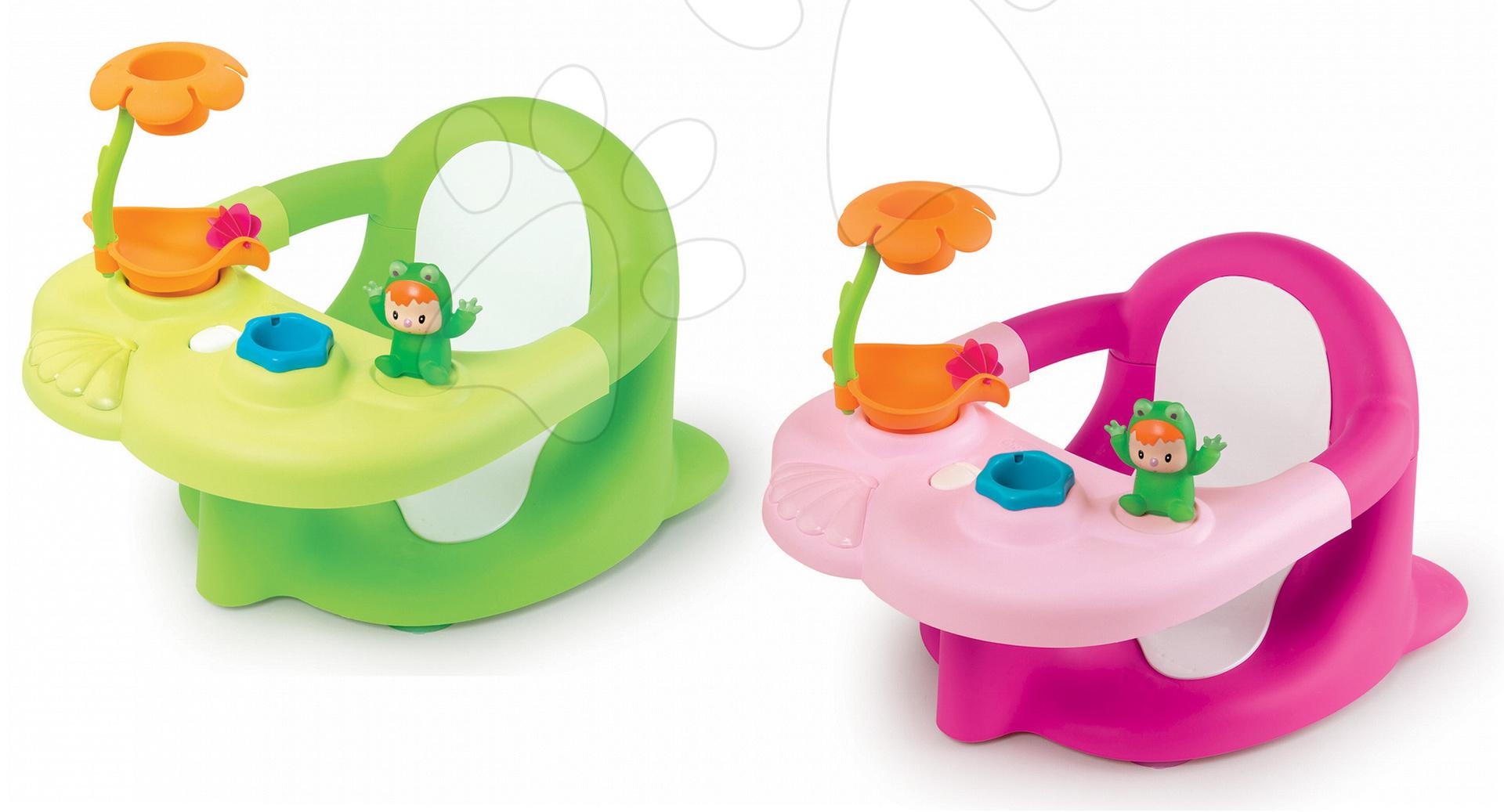 Hračky do vane - Sedátko do vody Žaba Cotoons Smoby s kvetinkou zelené/ružové od 6 mes