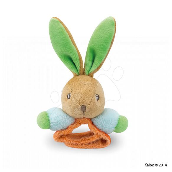 Hrkálky a hryzátka - Plyšová hrkálka zajačik Colors-Rattle Bracelets Kaloo s náramkom 12 cm pre najmenších