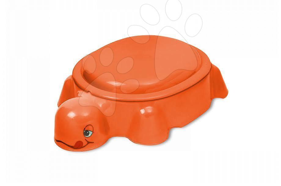 Pieskoviská pre deti - Pieskovisko Korytnačka Starplast s krytom objem 79 litrov oranžové od 24 mes