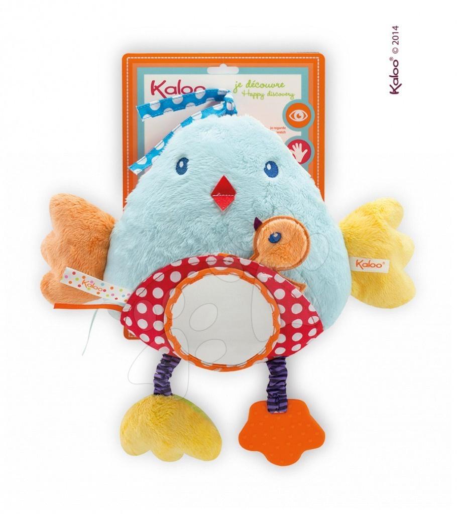 Hrkálky a hryzátka - Plyšový vtáčik Colors-My Bed Activity Panel Bird Kaloo s hryzátkom a zrkadlom 30 cm pre najmenších