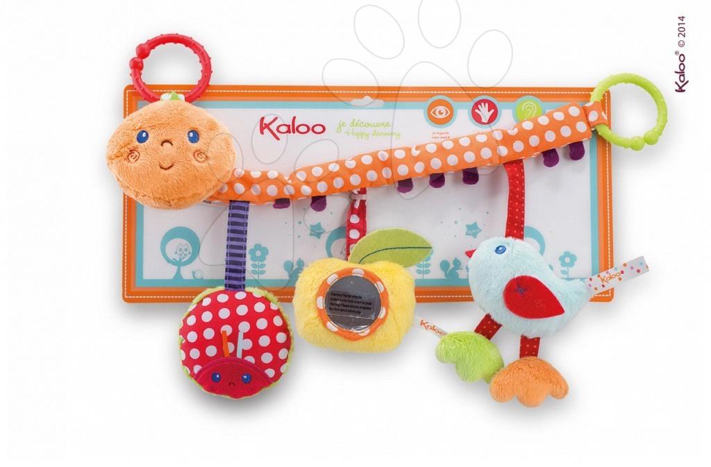 Kolotoče nad postieľku - Plyšová hrazdička Colors-My Pram Caterpillar Kaloo so zrkadlom a hrkálkou 40 cm pre najmenších