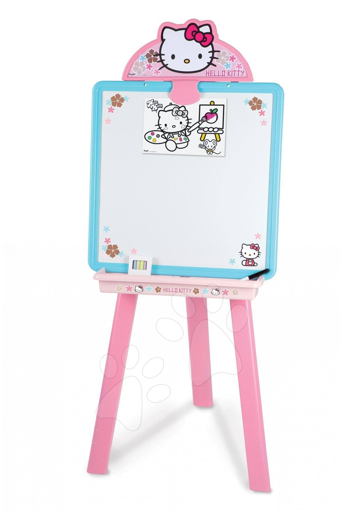 Staré položky - Obojstranná tabuľa Hello Kitty 2v1 Smoby s 18 doplnkami ružovo-modrá
