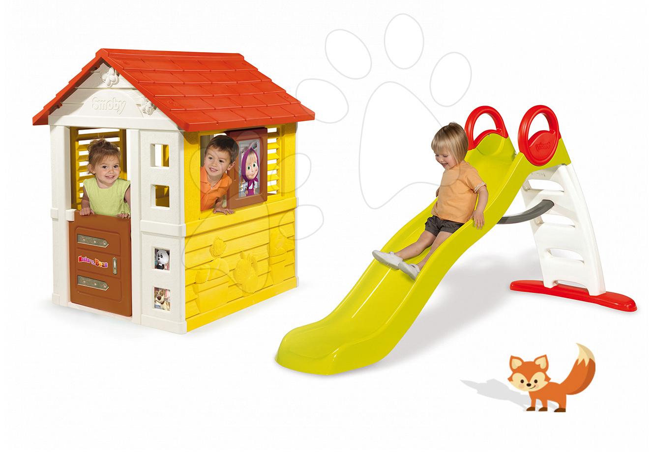 Set domček Máša a medveď Pretty Smoby so zasúvacou okenicou a šmykľavka Toboggan Funny vlnkovitá s dĺžkou1,9m s vodou od 24 mes