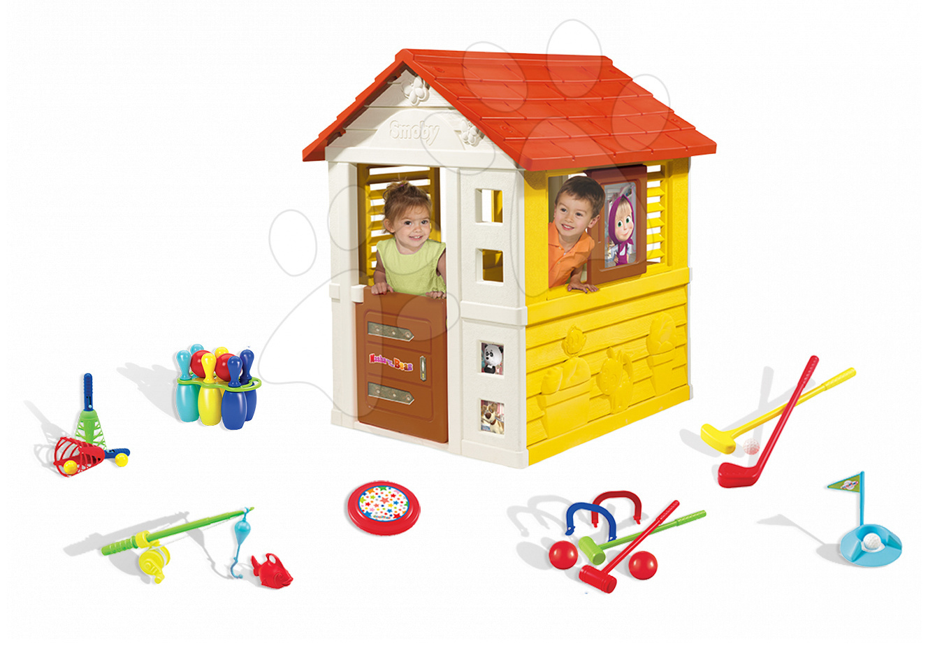 Set domeček pro děti Máša a medvěd Pretty Smoby se zasouvací okenicí a sportovní set 7 her od 2 let
