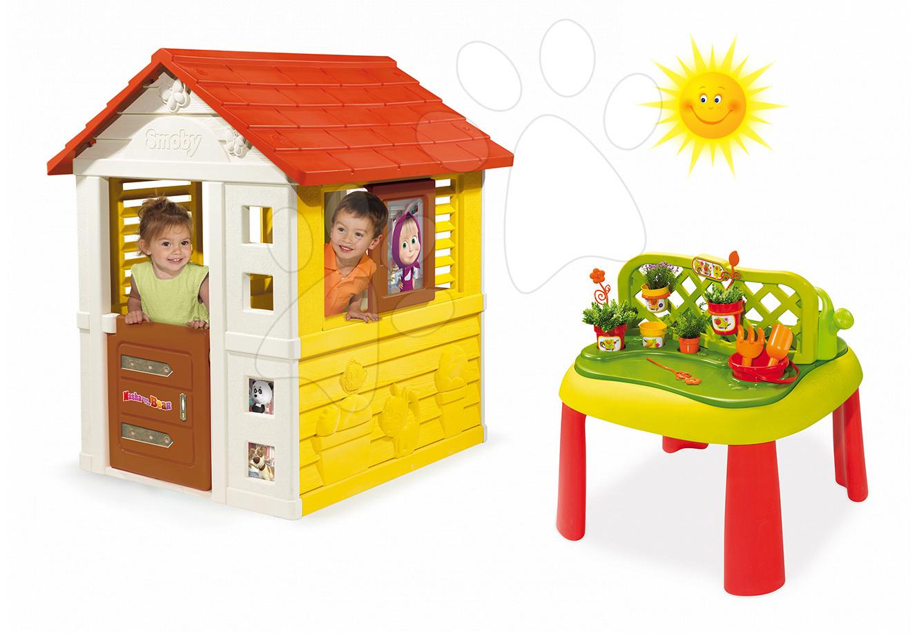 Set domeček Máša a medvěd Pretty Smoby a stůl Zahradník De Jardinage 2v1 s plotem od 24 měsíců