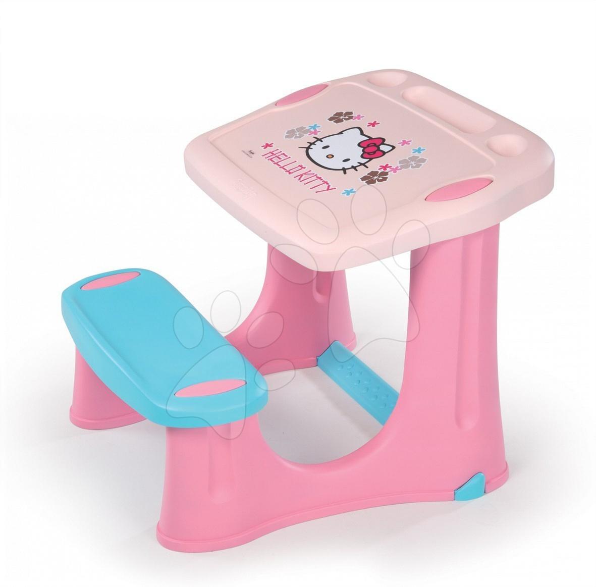 Školní lavice Hello Kitty Smoby s 20 doplňky růžovo-modrá