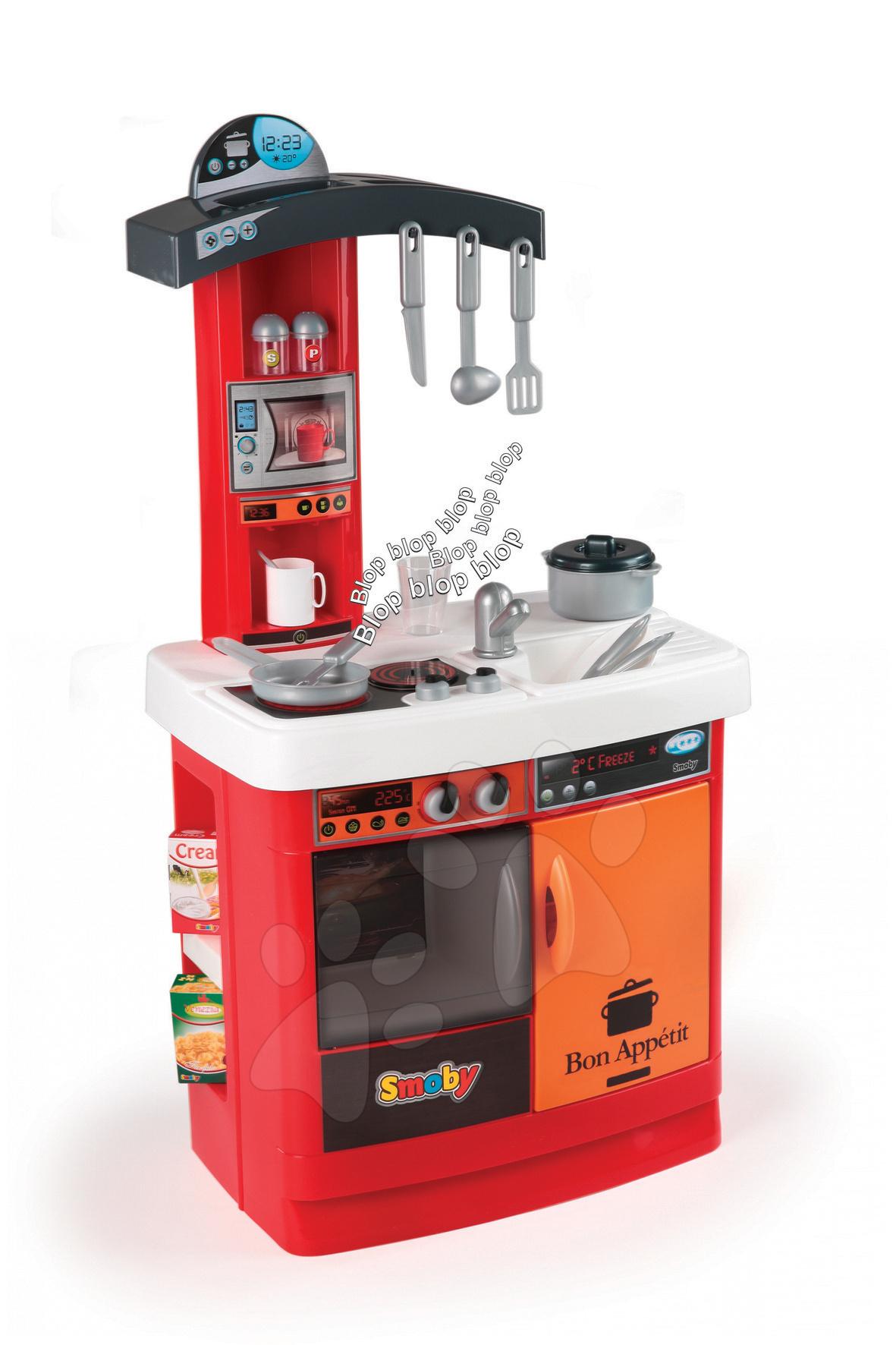 Elektronická kuchyňka Bon Appétit Rouge Smoby se zvuky a 17 doplňků
