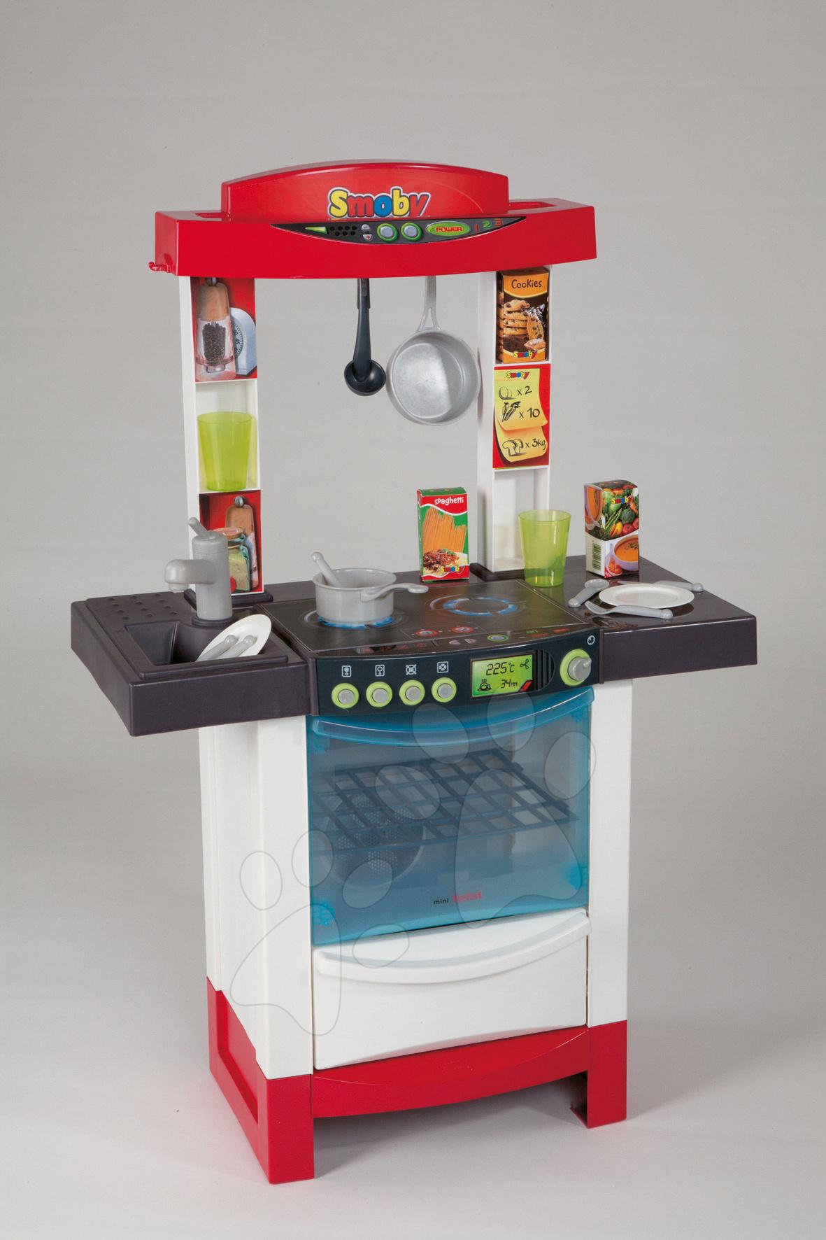 Elektronická kuchynka Cook'Tronic Tefal Smoby bielo-červená a 20 doplnkov