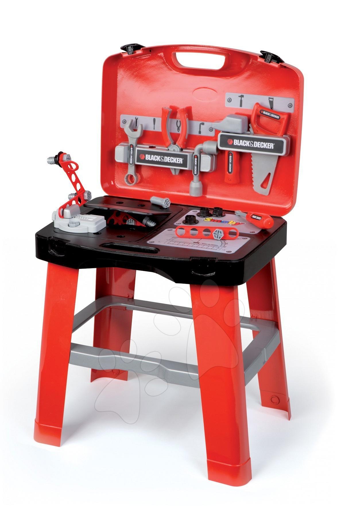 SMOBY 500240 detská pracovná dielňa Black&Decker so skladacím stolíkom a 25 doplnkami