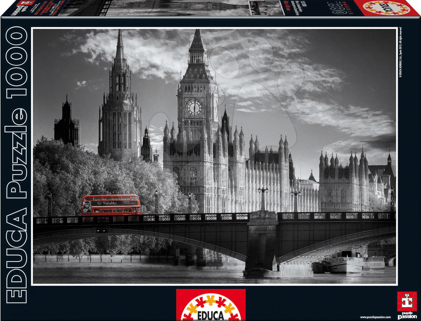 Puzzle B&W London Bus Educa 1000 dielov od 12 rokov