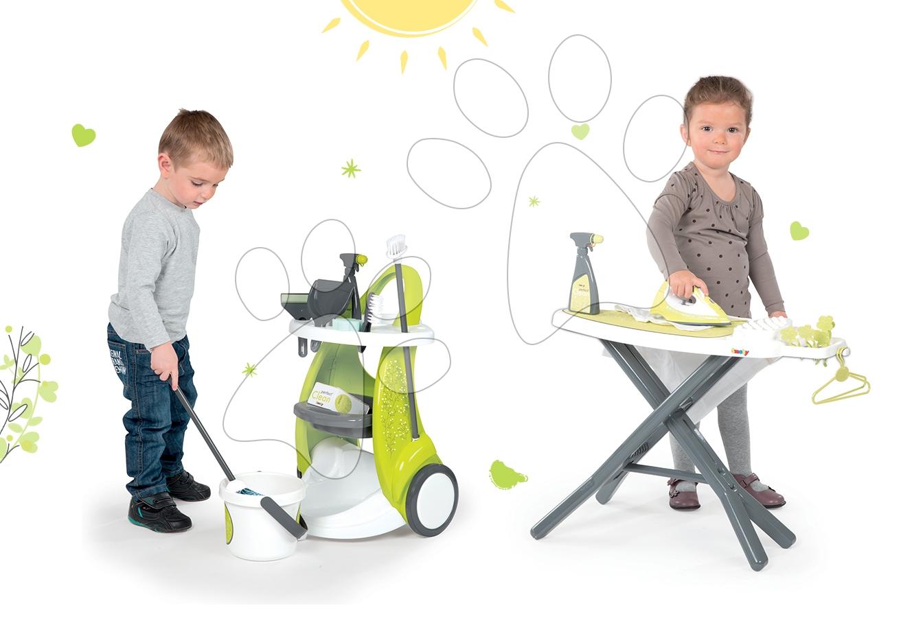 Hry na domácnosť - Set upratovací vozík Clean Service Smoby a žehliaca doska s elektronickou žehličkou Clean