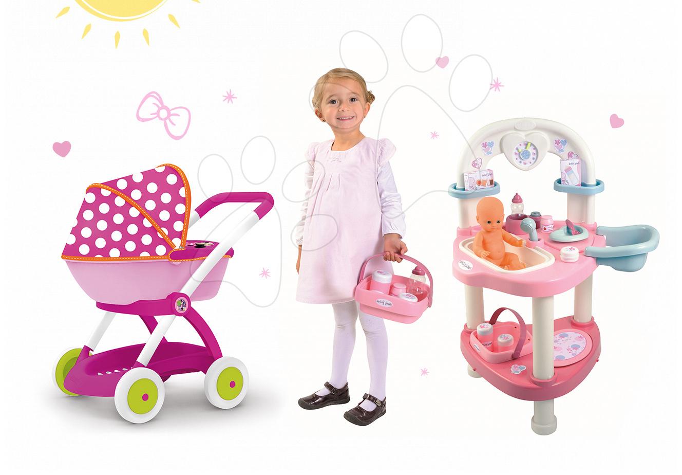 Domčeky pre bábiky sety - Set prebaľovací stôl Baby Nurse Srdiečko Smoby a hlboký kočík pre bábiku Minnie (58 cm rúčka)