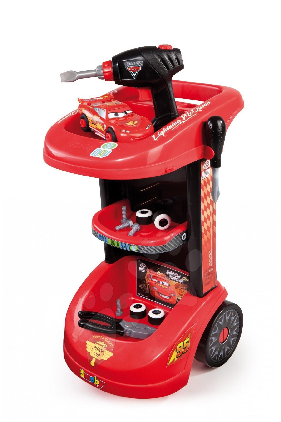 Dětský pracovní vozík Auta Smoby s autem McQueen, mechanickou vrtačkou a 15 doplňky