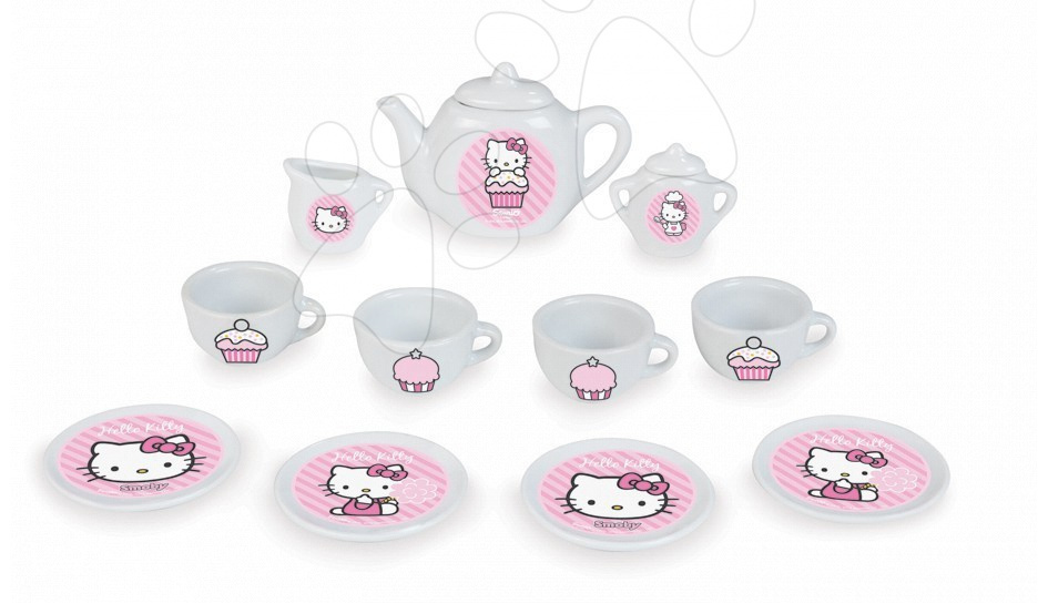 Čajový set Hello Kitty Smoby porcelánový s 13 doplnkami