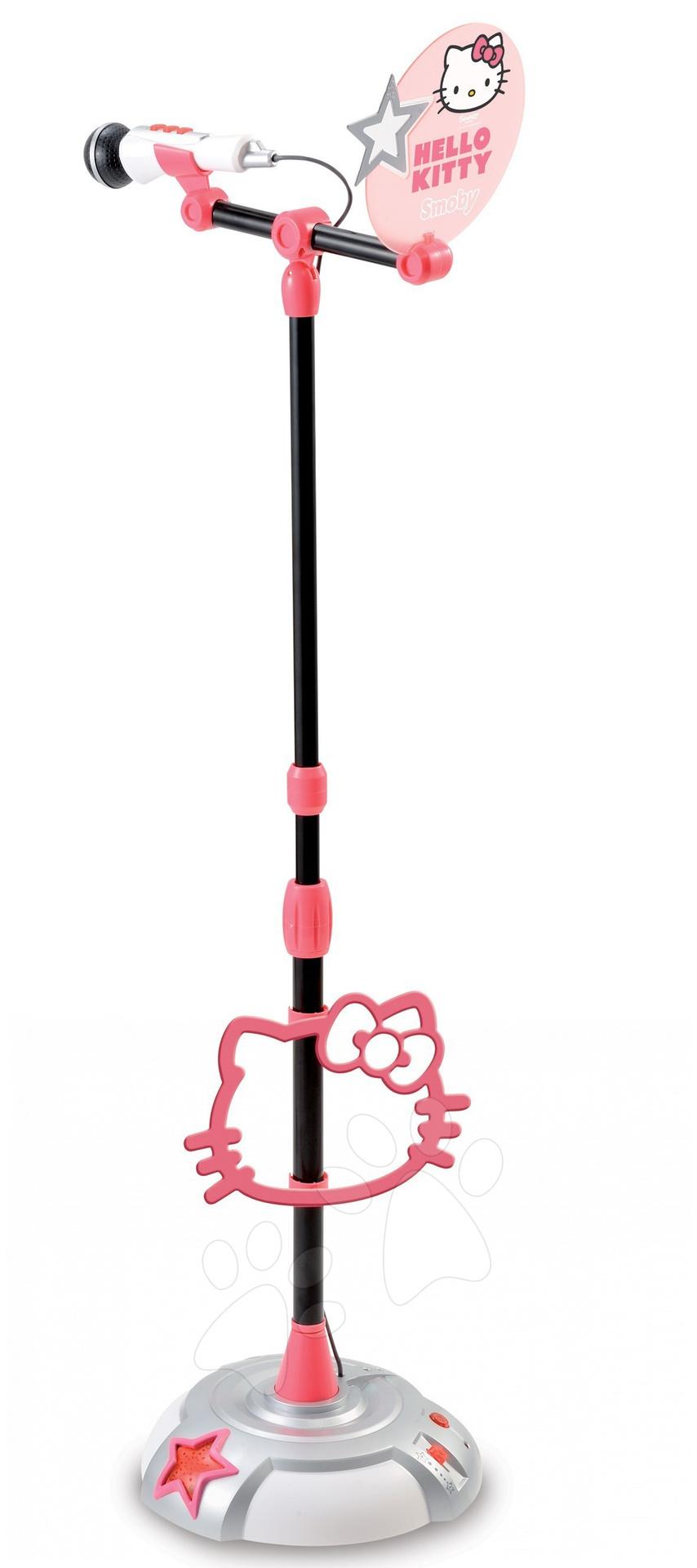 Mikrofon se stojánkem Hello Kitty Smoby světle růžový na baterky