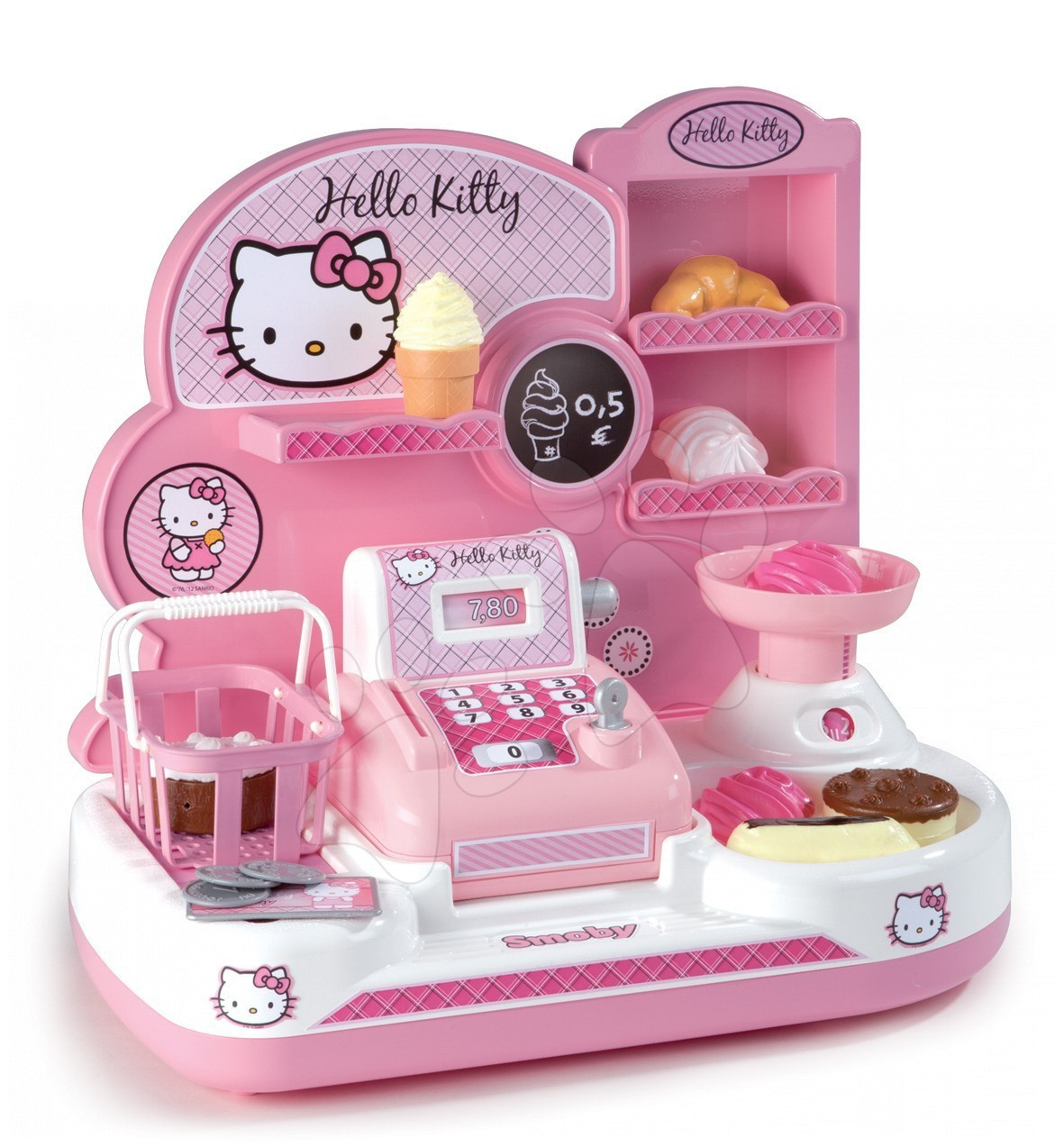 Obchod Hello Kitty Smoby s pokladnou a 16 doplňky