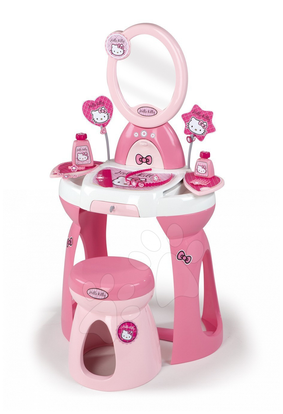 Kadeřnický stolek Hello Kitty 2v1 Smoby se židlí a 10 doplňky
