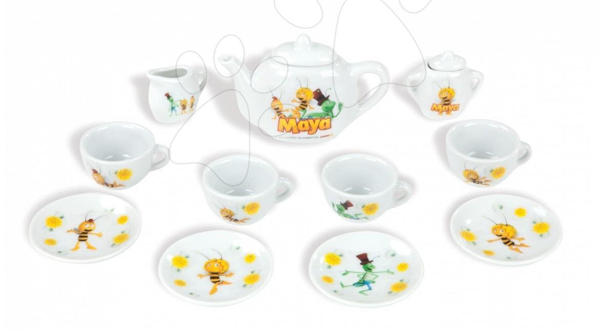 Nádobí a doplňky do kuchyňky - Porcelánová čajová sada Včelka Mája Smoby s 11 doplňky
