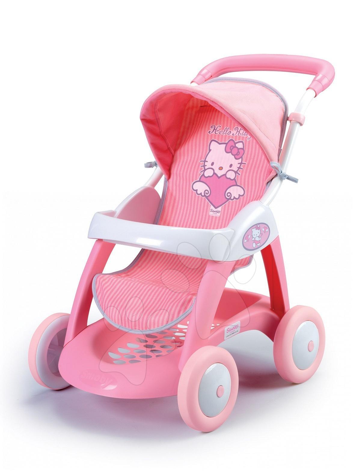 Kočárky pro panenky - Kočárek pro panenku Hello Kitty Chula Pop Car Smoby hluboký (55 cm rukojeť) od 18 měsíců