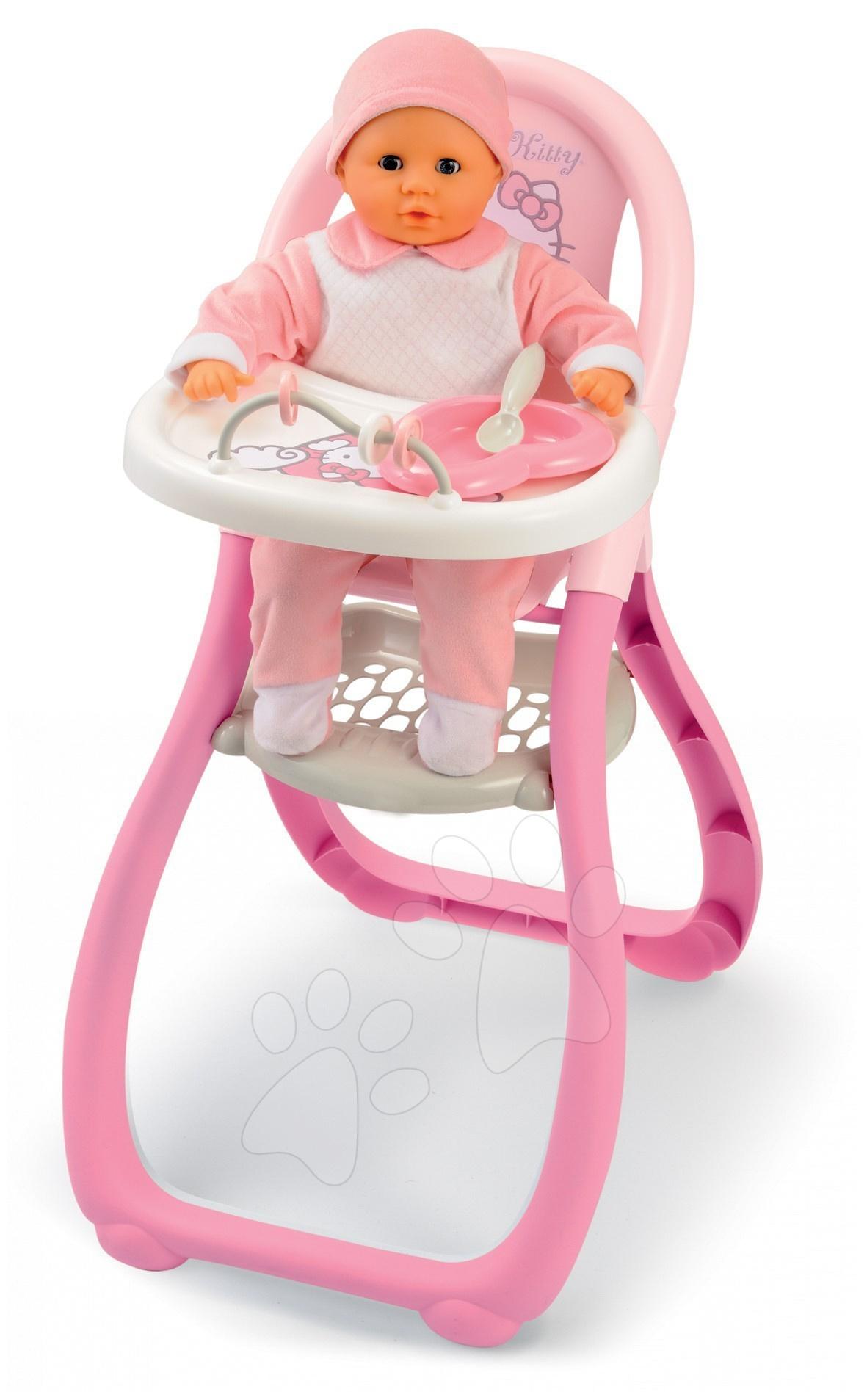 Staré položky - Jedálenská stolička Hello Kitty Smoby pre 42 cm bábiku svetloružová od 18 mes