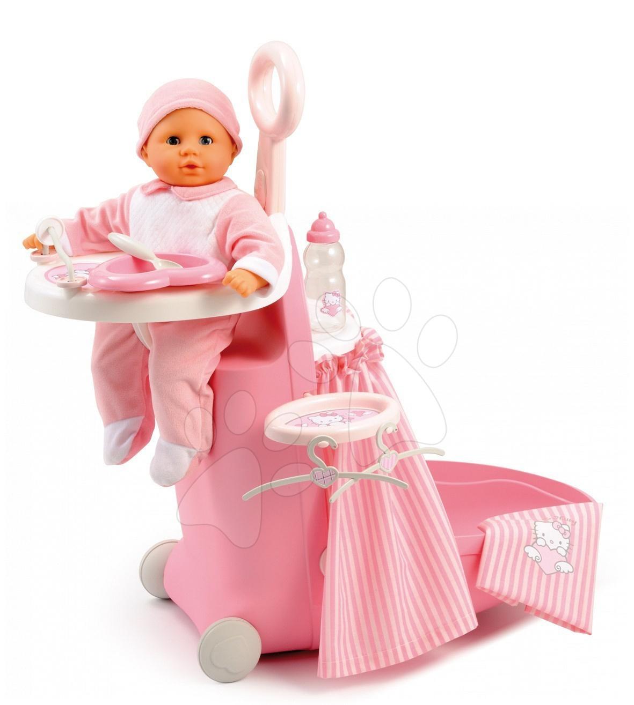 Pečovatelské centrum pro panenky - Pečovatelský kufřík Hello Kitty Nursery Smoby pro panenku se 6 doplňky světle růžový od 18 měsíců