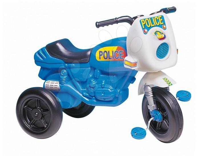 Motorky - Odrážedlo s pedály Police Motor Dohány modro-bílé