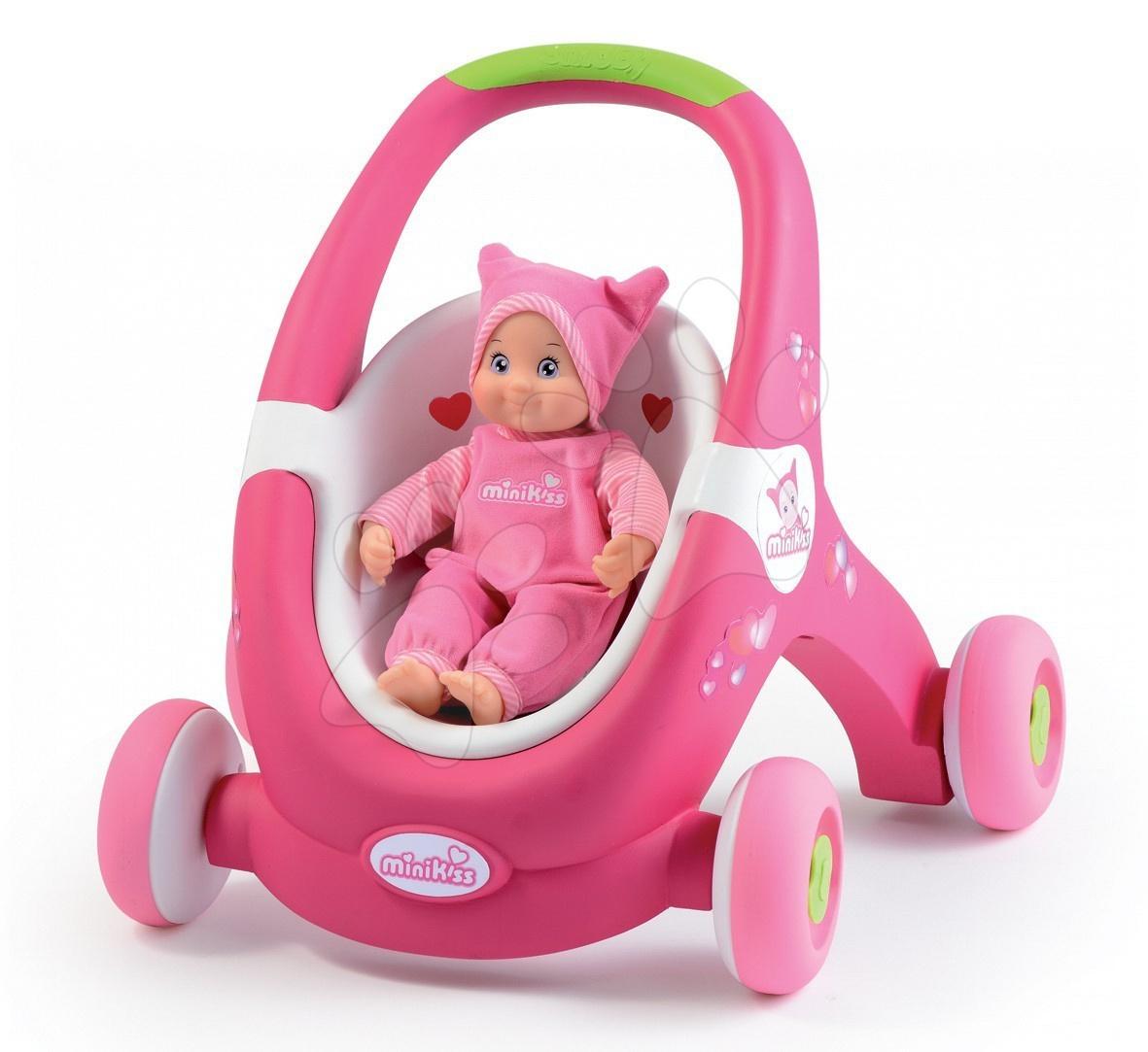 Dětské chodítko a kočárek pro panenku 2v1 MiniKiss Smoby s brzdou od 12 měsíců