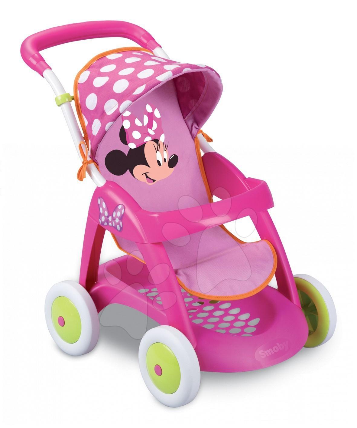 Kočíky od 18 mesiacov - Športový kočík Minnie Chuli Pop Car pre bábiku Smoby ružovo-zelený (55 cm rúčka)