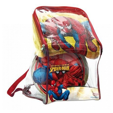 Poncso szettek - Szett fürdőlepedő és labda Pókember Mondo hátizsákban sárga-piros