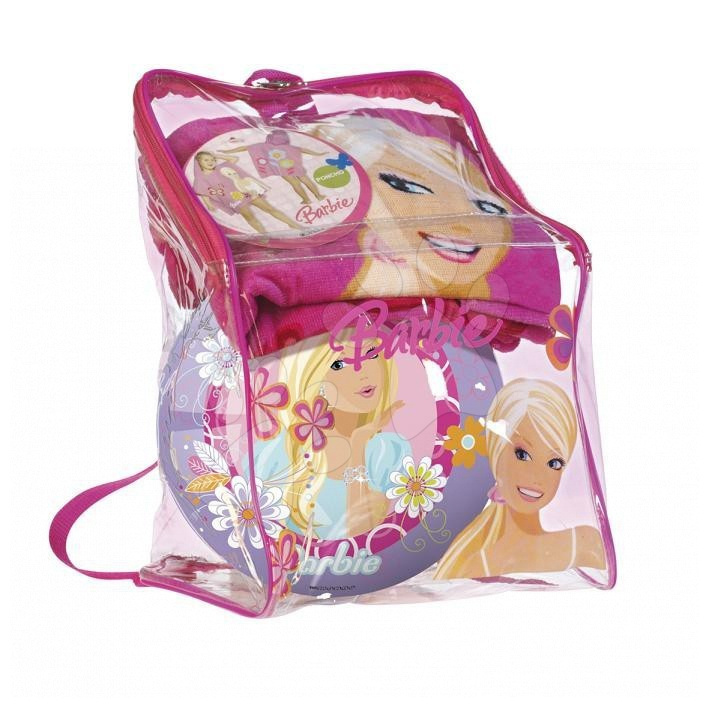 Súprava osuška-poncho a lopta Barbie Mondo v batohu