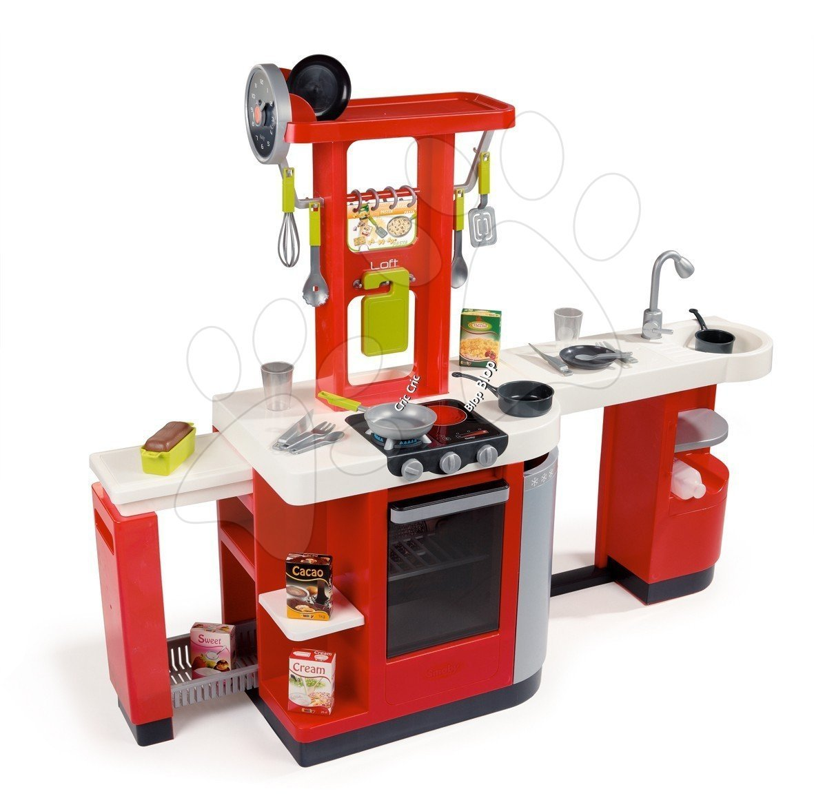 Kuchyňka Loft 4v1 Smoby elektronická červená se zvuky a 25 doplňků