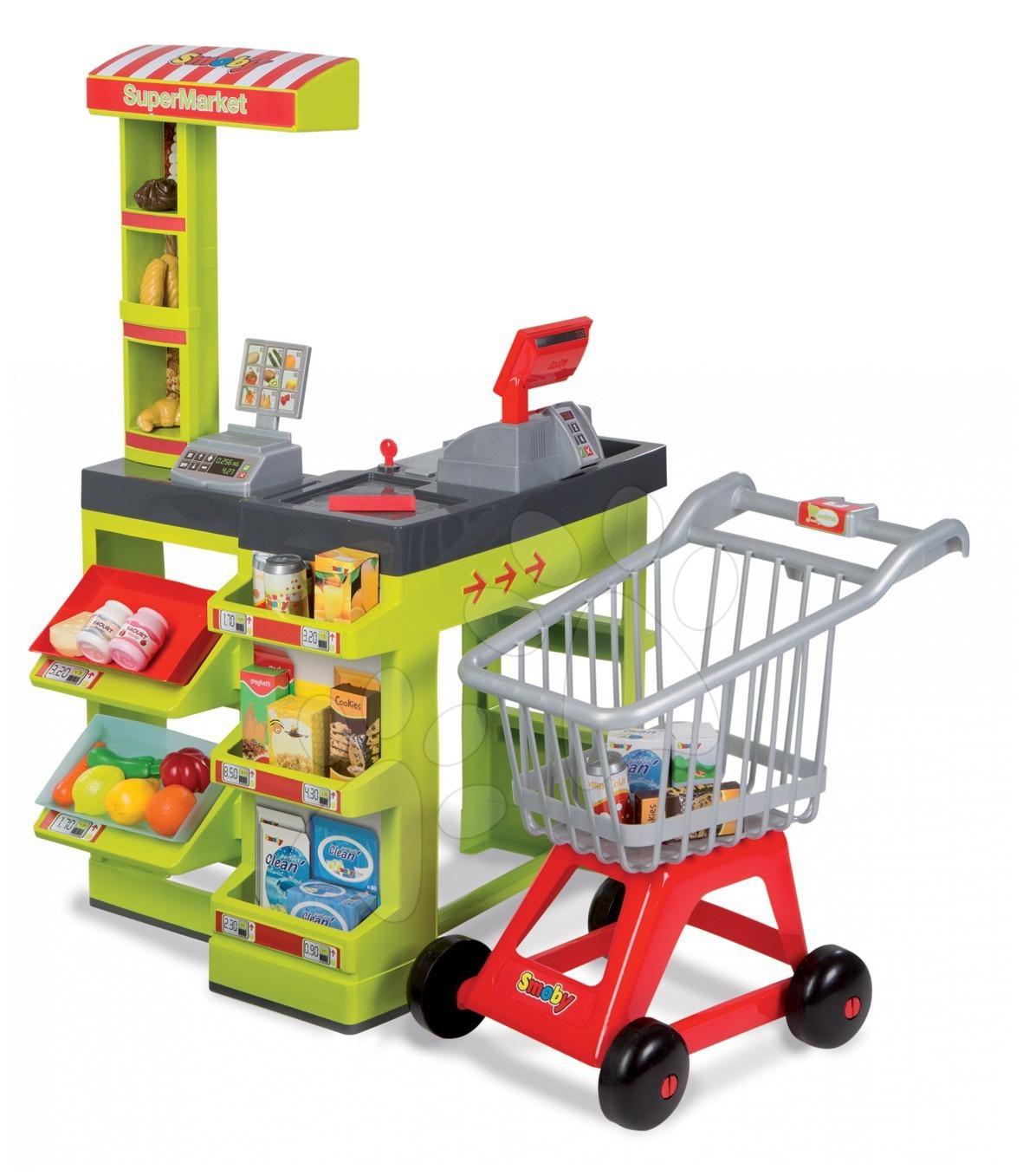 Obchod SuperMarket Smoby se zvukem, světlem a nákupním vozíkem se 47 doplňky