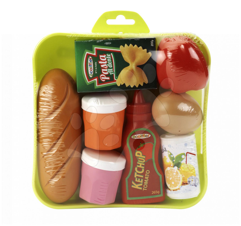 Riadíky a doplnky kuchynky - Potraviny Écoiffier na tácke 8 kusov od 18 mes