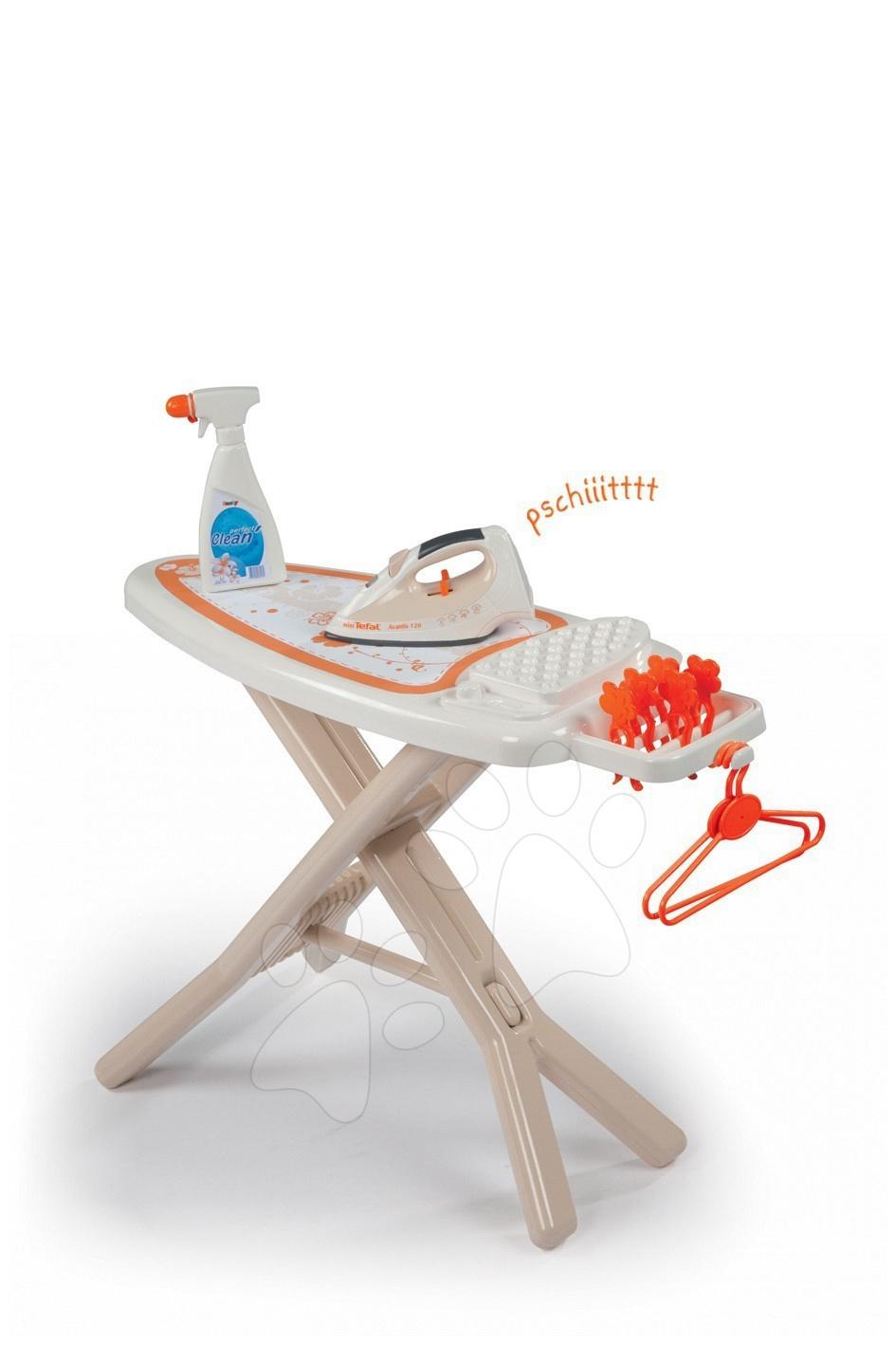 Jocuri de uz casnic - Masă de călcat Smoby cu călcător electronic Tefal cu 9 accesorii bej