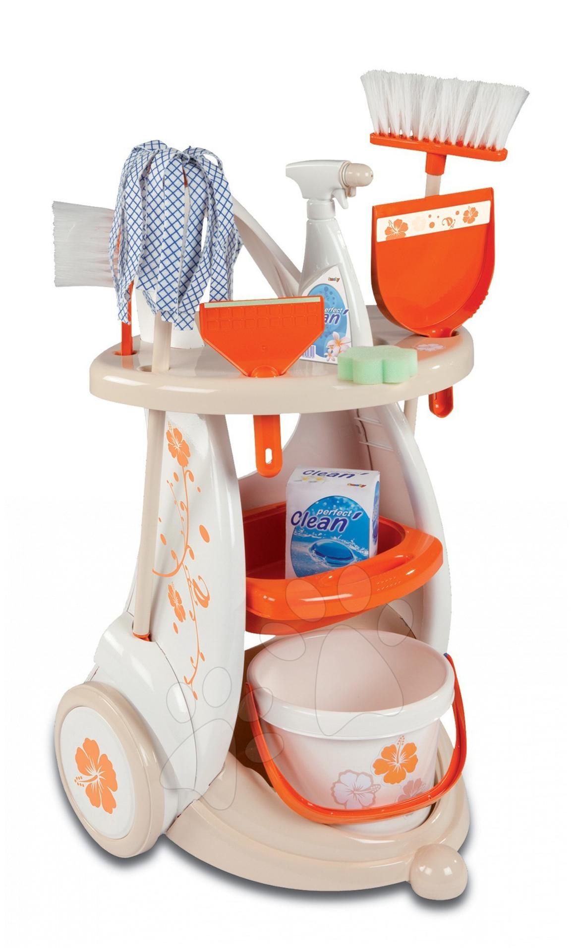 Úklidový vozík Clean Service Smoby s 9 doplňky béžový