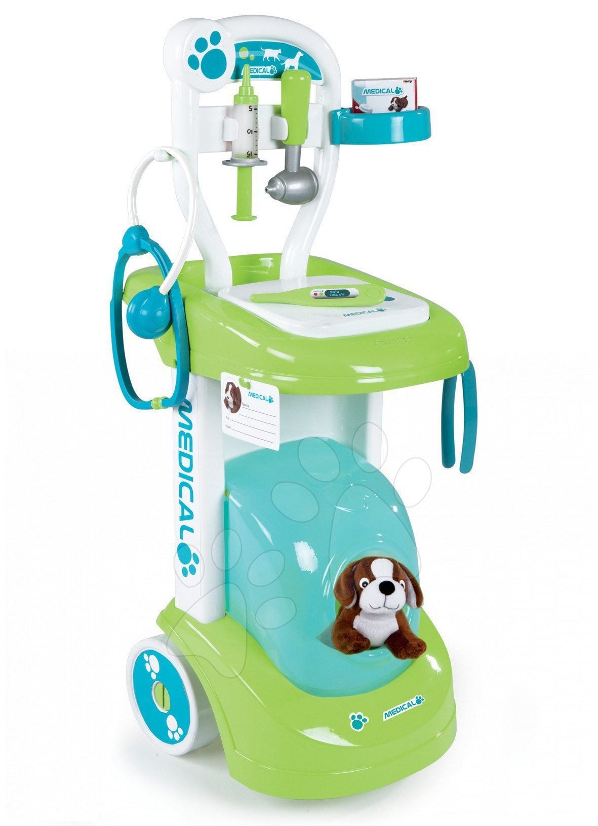 Lékařský veterinární vozík Smoby s pejskem a 8 doplňků